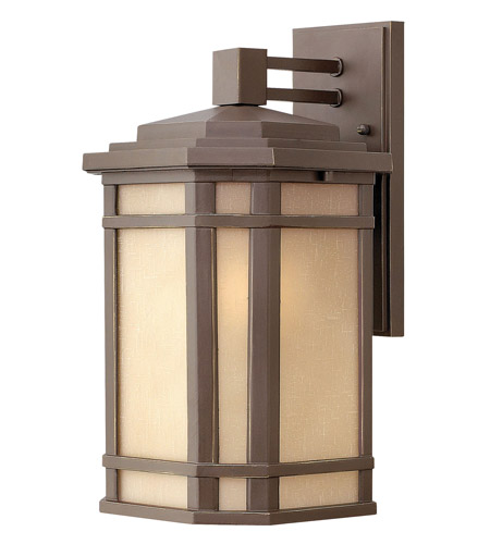 Hinkley 1274OZ-GU24 Cherry Creek 1 Light 15 inch Oil Rubbed Bronze Outdoor Wall in Amber Linen, GU24 photo