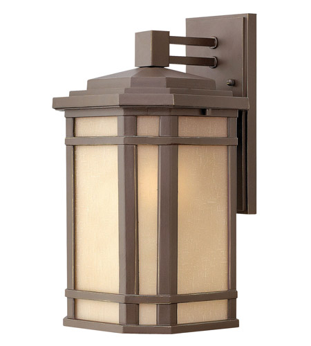 Hinkley 1274OZ-LED Cherry Creek LED 15 inch Oil Rubbed Bronze Outdoor Wall Lantern in Amber Linen photo