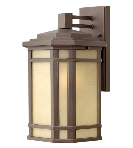 Hinkley 1274OZ Cherry Creek 1 Light 15 inch Oil Rubbed Bronze Outdoor Wall Lantern in Amber Linen, Incandescent photo