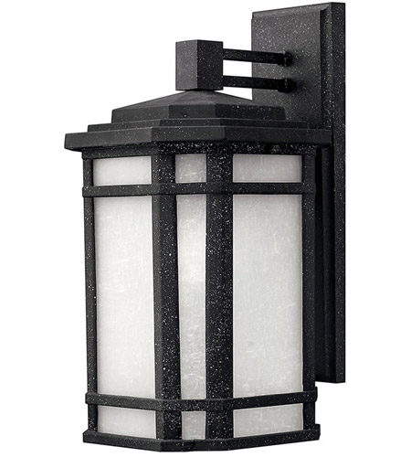 Hinkley 1274VK Cherry Creek 1 Light 15 inch Vintage Black Outdoor Wall Lantern in White Linen, Incandescent  photo