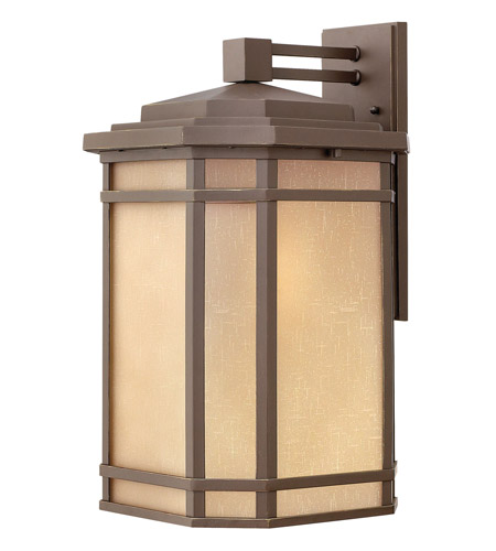 Hinkley 1275OZ-GU24 Cherry Creek 1 Light 21 inch Oil Rubbed Bronze Outdoor Wall in Amber Linen, GU24 photo