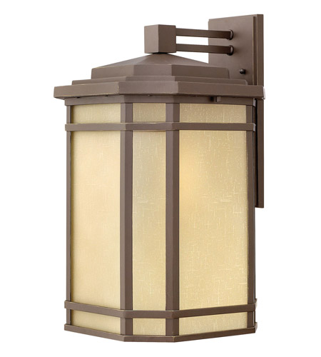 Hinkley 1275OZ Cherry Creek 1 Light 21 inch Oil Rubbed Bronze Outdoor Wall Lantern in Amber Linen, Incandescent photo