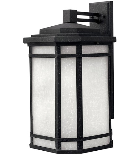 Hinkley 1275VK Cherry Creek 1 Light 21 inch Vintage Black Outdoor Wall Lantern in White Linen, Incandescent photo