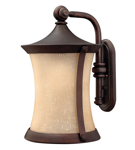 Hinkley 1285VZ-LED Thistledown 1 Light 21 inch Victorian Bronze Outdoor Wall Lantern, Amber Linen Glass photo