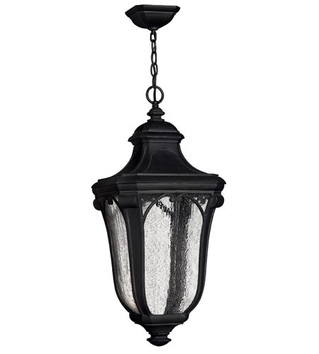 Hinkley Lighting Trafalgar 1 Light Outdoor Hanging Lantern in Museum Black 1312MB-ES
