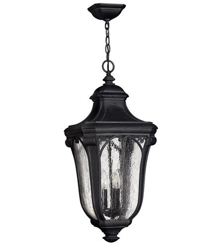Hinkley 1312MB-GU24 Trafalgar 1 Light 12 inch Museum Black Outdoor Hanging in GU24, Clear Seedy Glass photo