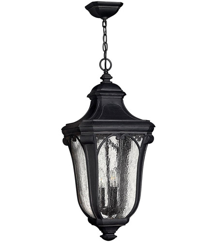 Hinkley Lighting Trafalgar 3 Light Outdoor Hanging Lantern in Museum Black 1312MB