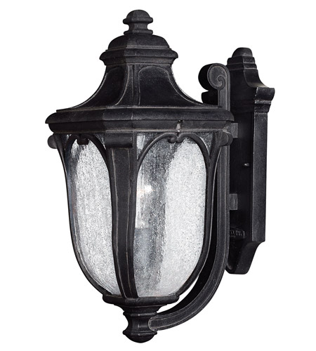 Hinkley 1314MB-GU24 Trafalgar 1 Light 18 inch Museum Black Outdoor Wall Lantern in GU24, Clear Seedy Glass photo