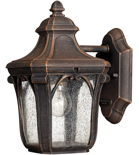 Hinkley 1316MO-LED Trafalgar 1 Light 10 inch Mocha Outdoor Wall in LED, Clear Seedy Glass photo