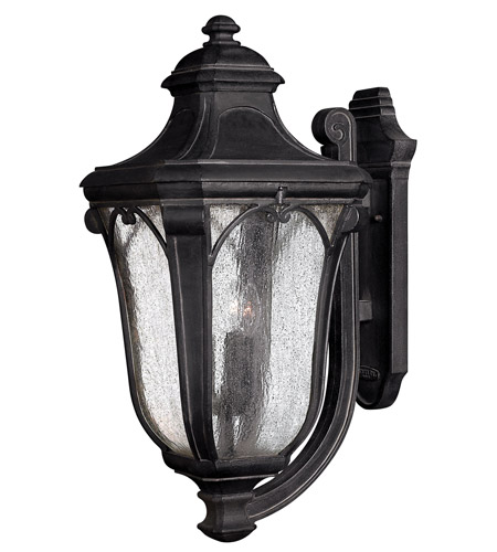 Hinkley 1319MB-GU24 Trafalgar 1 Light 27 inch Museum Black Outdoor Wall in GU24, Clear Seedy Glass photo