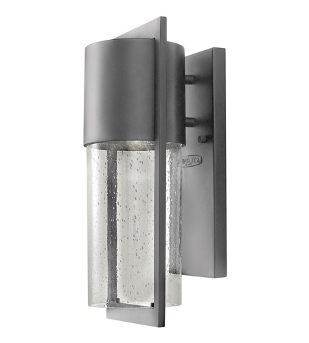 Hinkley 1320HE-GU24 Shelter 1 Light 16 inch Hematite Outdoor Wall Lantern in GU24, Clear Seedy Glass photo