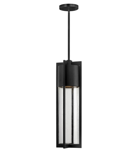 Hinkley 1322BK-GU24 Shelter 1 Light 6 inch Black Outdoor Hanging in GU24, Clear Seedy Glass photo