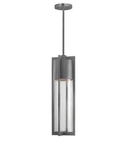 Hinkley 1322HE-GU24 Shelter 1 Light 6 inch Hematite Outdoor Hanging in GU24, Clear Seedy Glass photo