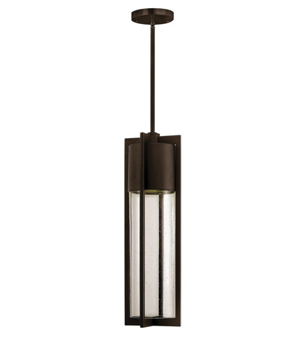 Hinkley 1322KZ-GU24 Shelter 1 Light 6 inch Buckeye Bronze Outdoor Hanging in GU24, Clear Seedy Glass photo
