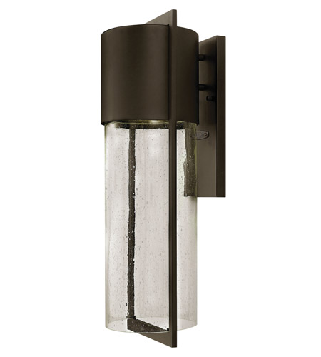 Hinkley 1325KZ-GU24 Shelter 1 Light 23 inch Buckeye Bronze Outdoor Wall in GU24, Clear Seedy Glass photo