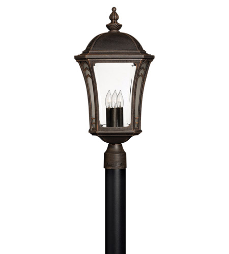 Hinkley 1331MO-LED Wabash 1 Light 23 inch Mocha Post Lantern in LED, Post Sold Separately, Clear and Etched Glasses photo