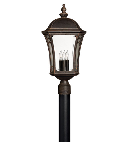Hinkley 1331MO Wabash 3 Light 23 inch Mocha Post Lantern in Incandescent, Post Sold Separately photo