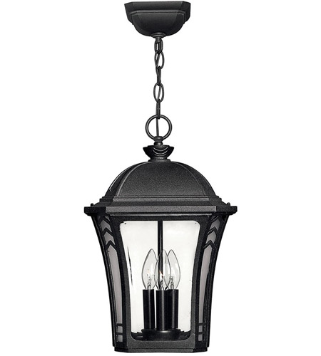 Hinkley Lighting Wabash 3 Light Outdoor Hanging Lantern in Museum Black 1332MB