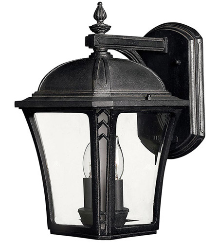 Hinkley Lighting Wabash 2 Light Outdoor Wall Lantern in Museum Black 1334MB