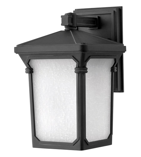 Hinkley 1350MB-GU24 Stratford 1 Light 13 inch Museum Black Outdoor Wall in GU24, Seedy Linen Glass photo