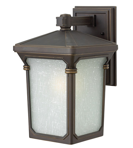 Hinkley 1350OZ-GU24 Stratford 1 Light 13 inch Oil Rubbed Bronze Outdoor Wall in GU24, Seedy Linen Glass photo