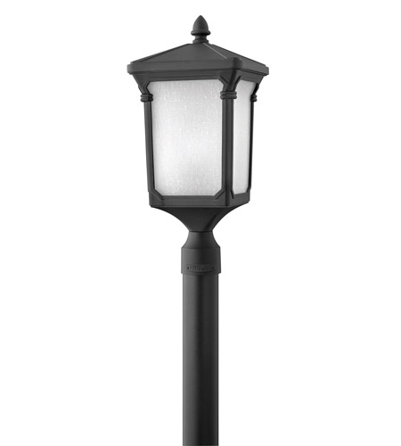 Hinkley 1351MB-LED Stratford 1 Light 21 inch Museum Black Post Lantern in LED, Post Sold Separately, Seedy Linen Glass photo