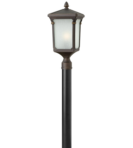 Hinkley 1351OZ-LED Stratford 1 Light 21 inch Oil Rubbed Bronze Post Lantern in LED, Post Sold Separately, Seedy Linen Glass photo