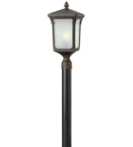 Hinkley 1351OZ Stratford 1 Light 21 inch Oil Rubbed Bronze Post Lantern in Incandescent, Post Sold Separately, Seedy Linen Glass photo