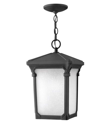 Hinkley 1352MB-GU24 Stratford 1 Light 10 inch Museum Black Outdoor Hanging in GU24, Seedy Linen Glass photo