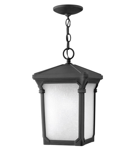 Hinkley Lighting Stratford 1 Light Outdoor Hanging Lantern in Museum Black 1352MB