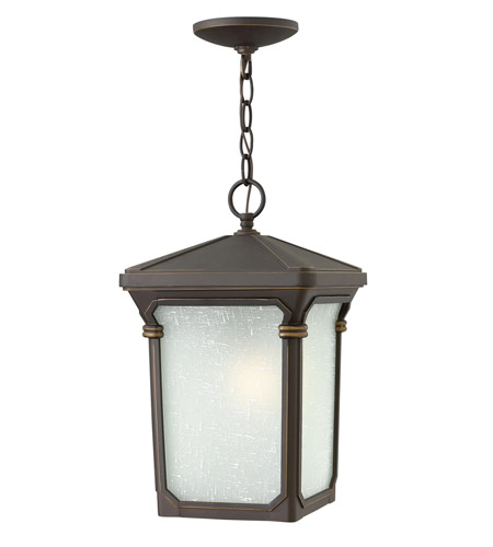 Hinkley 1352OZ-LED Stratford 1 Light 10 inch Oil Rubbed Bronze Outdoor Hanging in LED, Seedy Linen Glass  photo