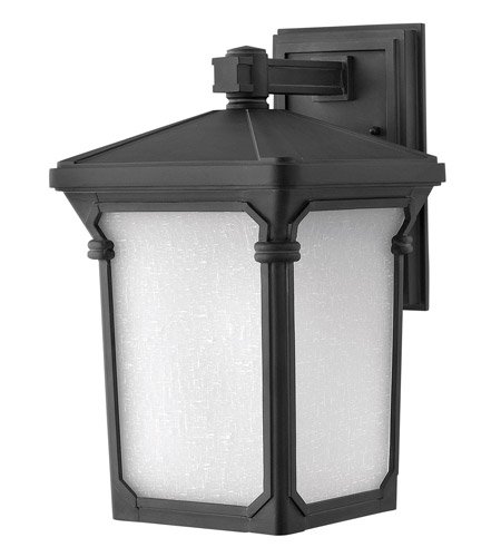 Hinkley 1354MB-GU24 Stratford 1 Light 16 inch Museum Black Outdoor Wall in GU24, Seedy Linen Glass photo