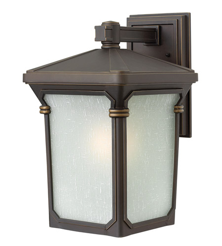 Hinkley 1354OZ-GU24 Stratford 1 Light 16 inch Oil Rubbed Bronze Outdoor Wall in GU24, Seedy Linen Glass photo