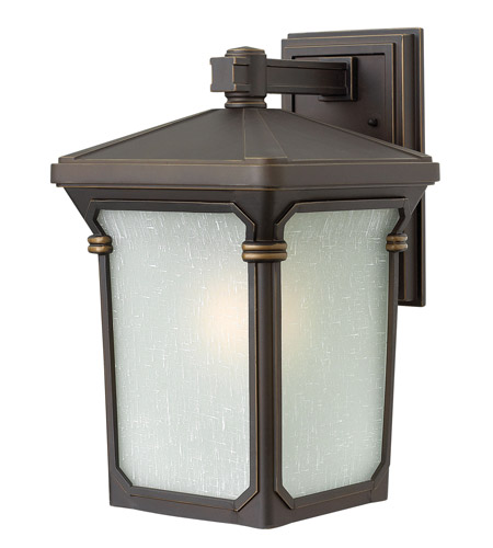 Hinkley 1354OZ Stratford 1 Light 16 inch Oil Rubbed Bronze Outdoor Wall, Seedy Linen Glass photo