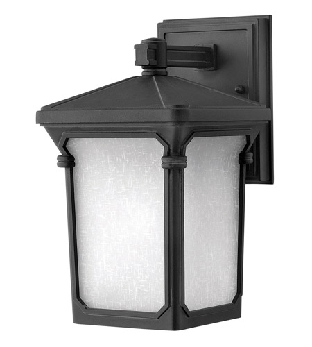 Hinkley 1356MB-GU24 Stratford 1 Light 11 inch Museum Black Outdoor Wall in GU24, Seedy Linen Glass photo