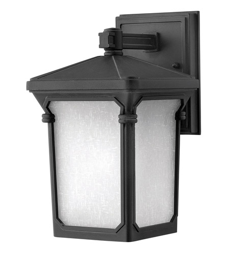 Hinkley 1356MB-LED Stratford 1 Light 11 inch Museum Black Outdoor Wall in LED, Seedy Linen Glass photo