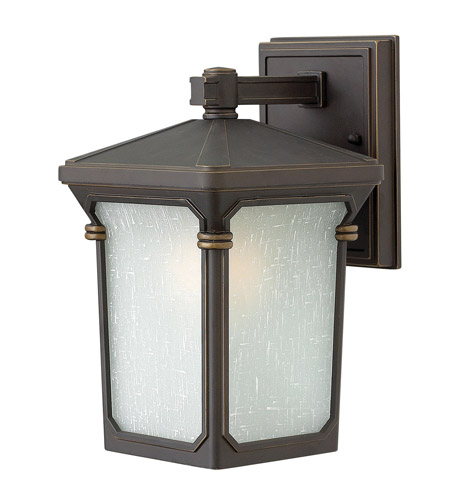Hinkley 1356OZ-GU24 Stratford 1 Light 11 inch Oil Rubbed Bronze Outdoor Wall in GU24, Seedy Linen Glass photo