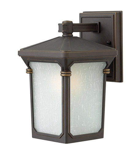 Hinkley 1356OZ Stratford 1 Light 11 inch Oil Rubbed Bronze Outdoor Wall in Incandescent, Seedy Linen Glass photo