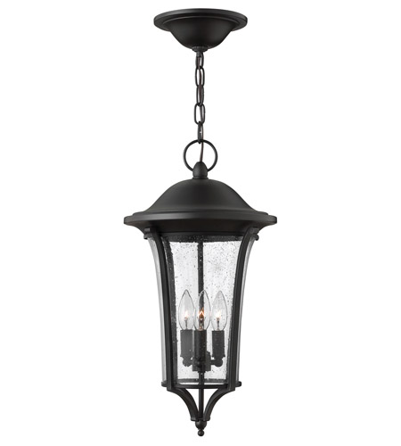 Hinkley 1382BK Chesterfield 3 Light 11 inch Black Outdoor Hanging, Clear Seedy Glass photo