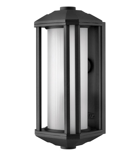 Hinkley 1390BK-GU24 Castelle 1 Light 15 inch Black Outdoor Wall in Ribbed Etched, GU24, Ribbed Etched Glass photo
