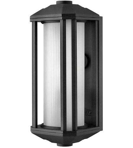 Hinkley 1390BK Castelle 1 Light 15 inch Black Outdoor Wall Mount in Ribbed Etched, Incandescent photo
