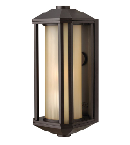 Hinkley 1390BZ-LED Castelle LED 15 inch Bronze Outdoor Wall Mount, Ribbed Etched Amber Cylinder Glass photo