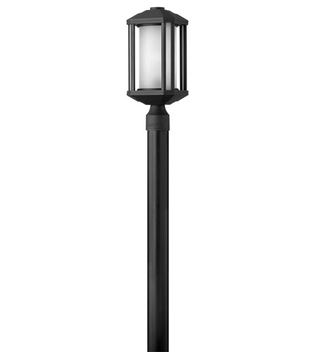 Hinkley 1391BK-GU24 Castelle 1 Light 17 inch Black Post Lantern in Ribbed Etched, GU24, Ribbed Etched Glass photo
