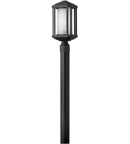 Hinkley 1391BK Castelle 1 Light 17 inch Black Post Lantern in Ribbed Etched, Incandescent, Post Sold Separately photo