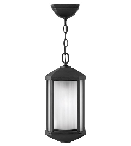 Hinkley 1392BK-GU24 Castelle 1 Light 7 inch Black Outdoor Hanging in Ribbed Etched, GU24, Ribbed Etched Glass photo