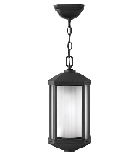 Hinkley 1392BK Castelle 1 Light 7 inch Black Outdoor Hanging Lantern in Ribbed Etched, Incandescent photo
