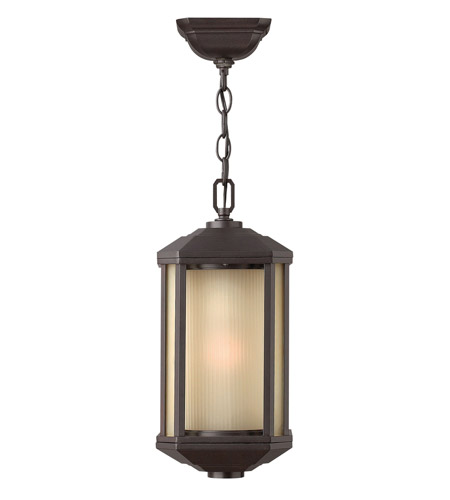 Hinkley 1392BZ-GU24 Castelle 1 Light 7 inch Bronze Outdoor Hanging in Amber Etched, GU24, Ribbed Etched Glass photo