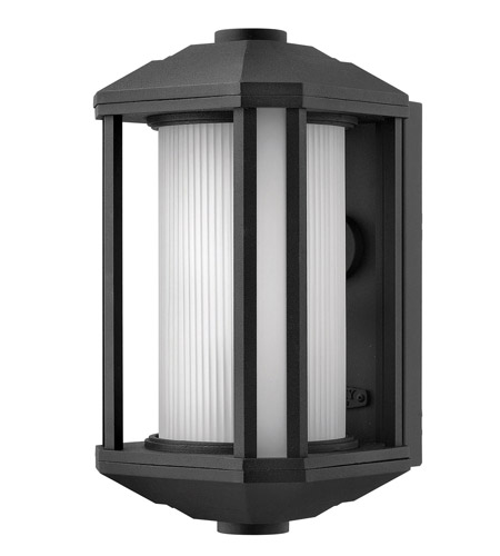 Hinkley 1394BK-GU24 Castelle 1 Light 13 inch Black Outdoor Wall, Ribbed Etched Glass photo