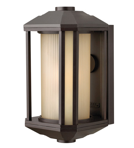 Hinkley 1394BZ Castelle 1 Light 13 inch Bronze Outdoor Wall Lantern in Amber Etched, Incandescent photo
