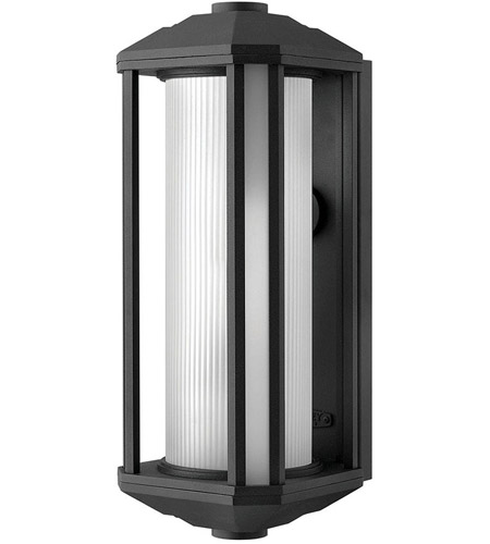 Hinkley 1395BK-LED Castelle LED 18 inch Black Outdoor Wall Mount, Ribbed Etched Cylinder Glass photo